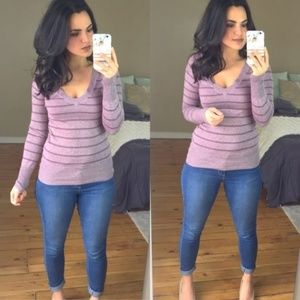 Mossimo Purple Striped V Neck Sweater